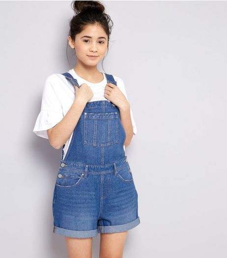 43b1c4d9e44b Teens Blue Denim Short Dungarees