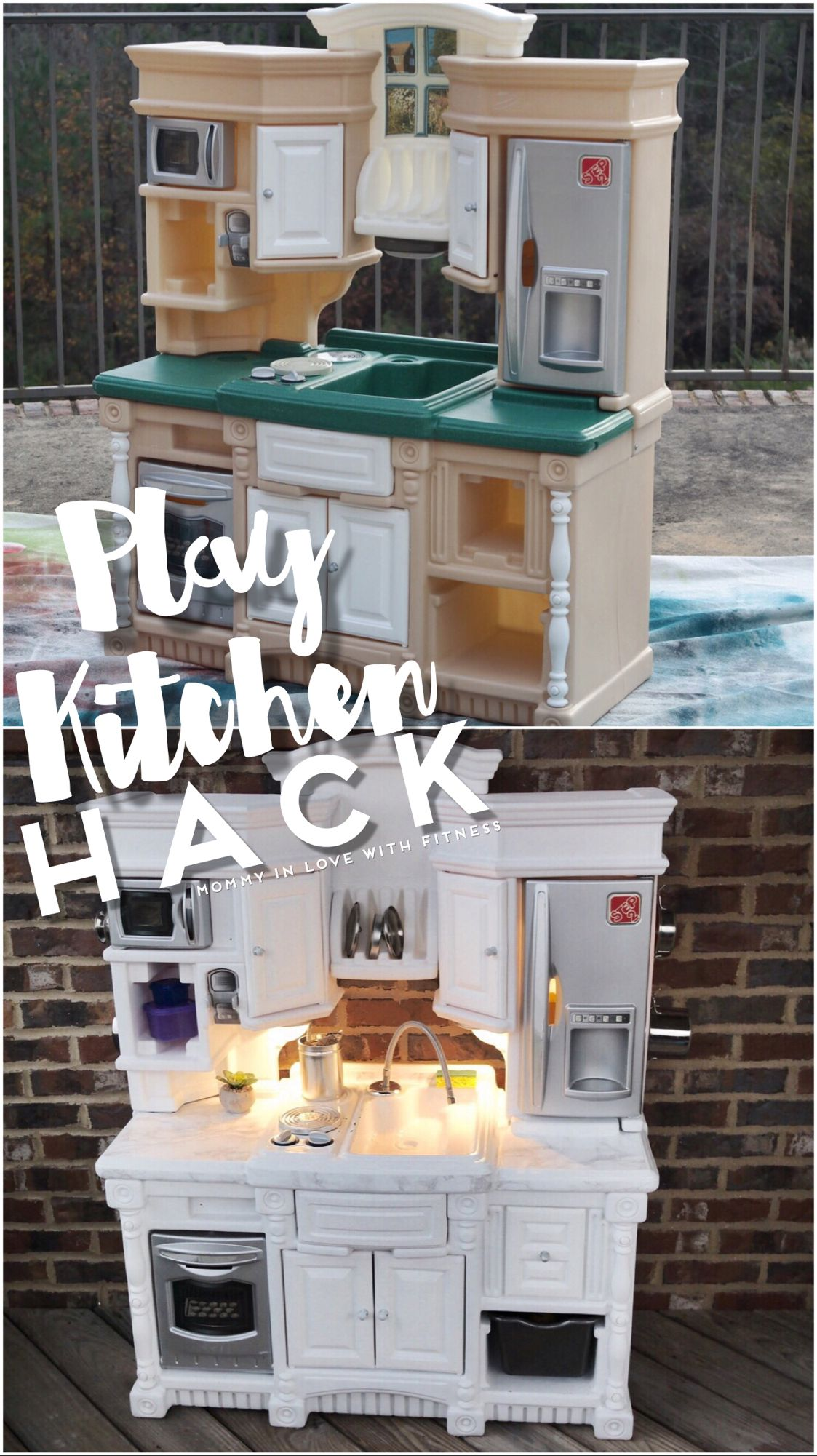 Diy play kitchen with white marble counter tops white cabinets