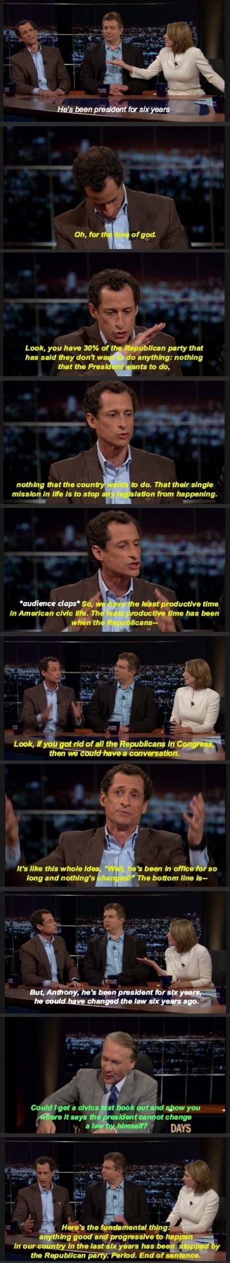 Weiner going off on the Republican Party