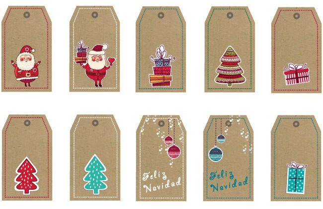 Tarjetas de Navidad imprimibles para los regalos | Christmas tree ...