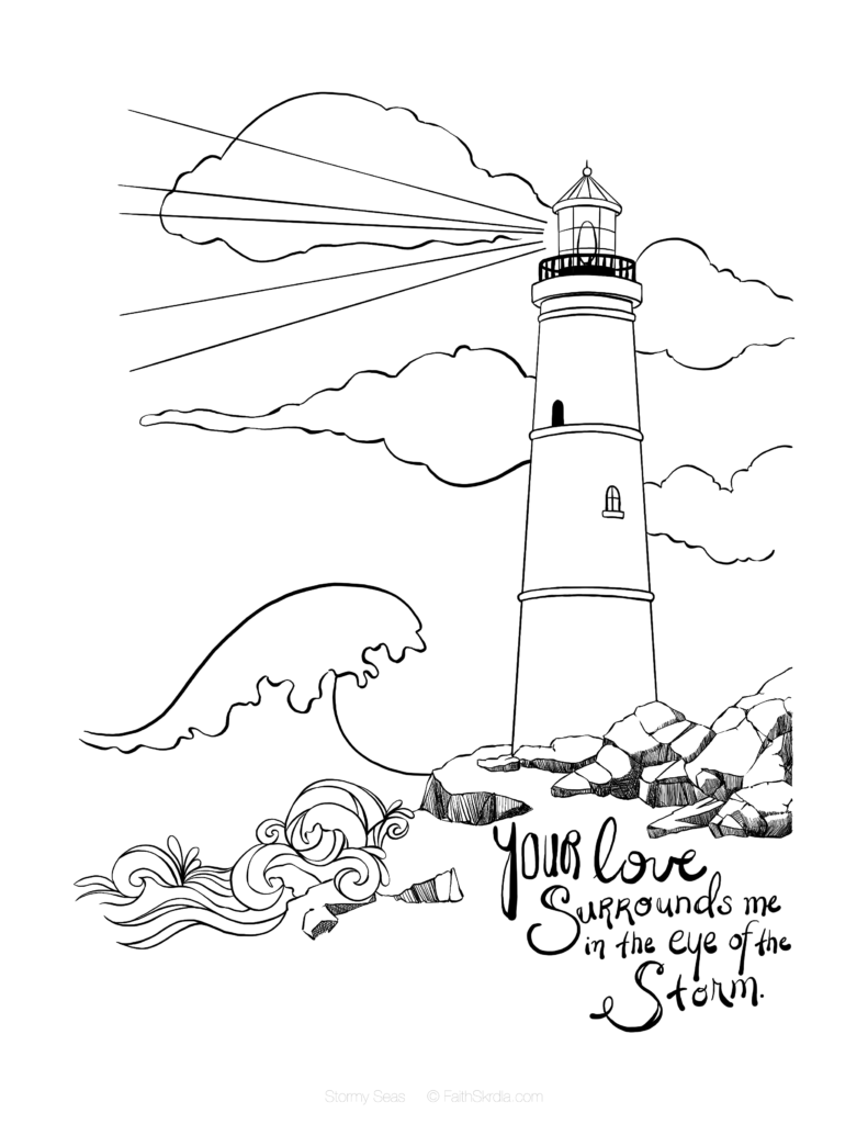 Lighthouse Free Coloring Page Bible Coloring Pages Bible Coloring Bible Art Journaling