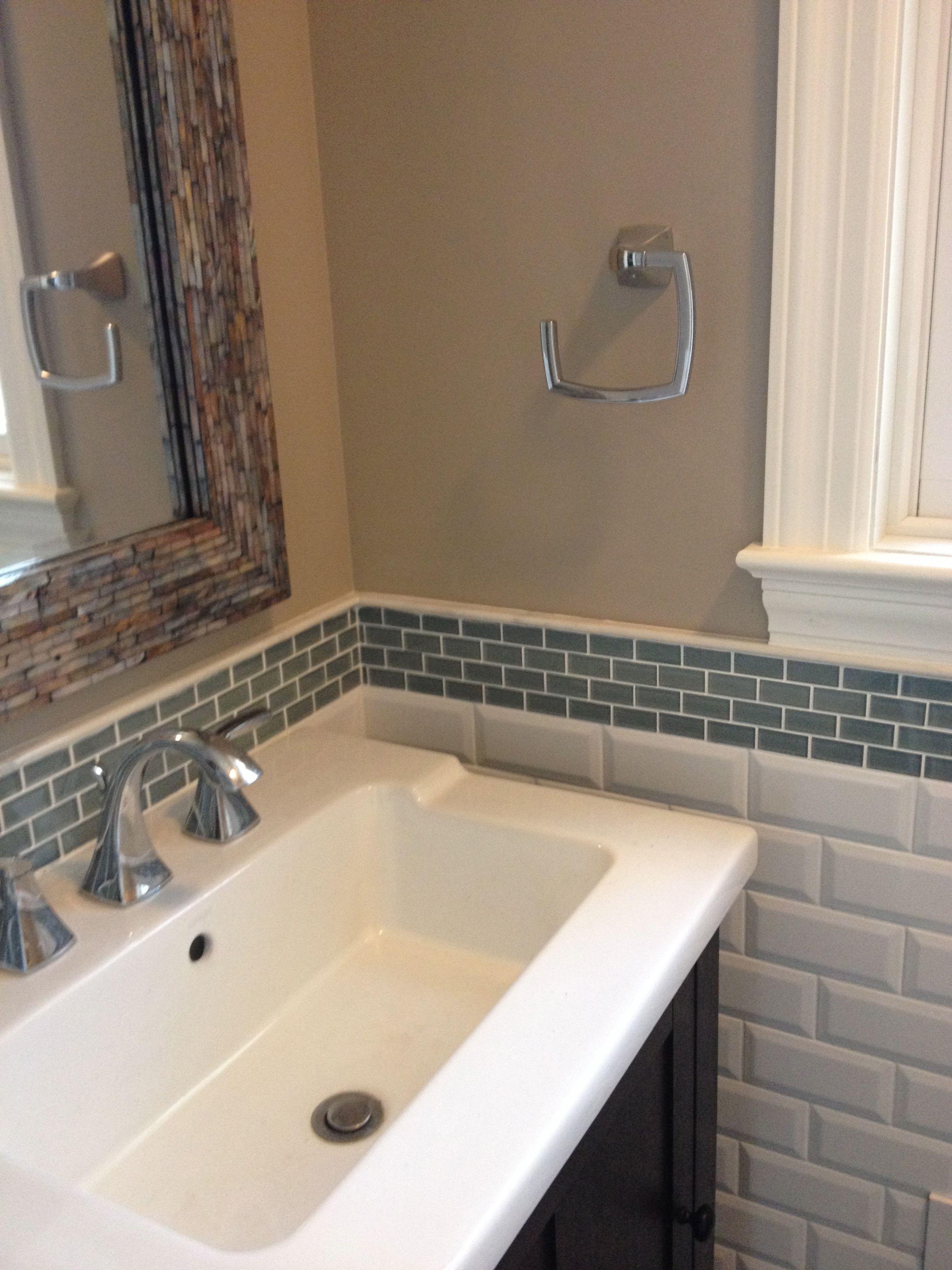 - Ocean 1x2 Mini Glass Subway Tile Tile Backsplash Bathroom, Glass