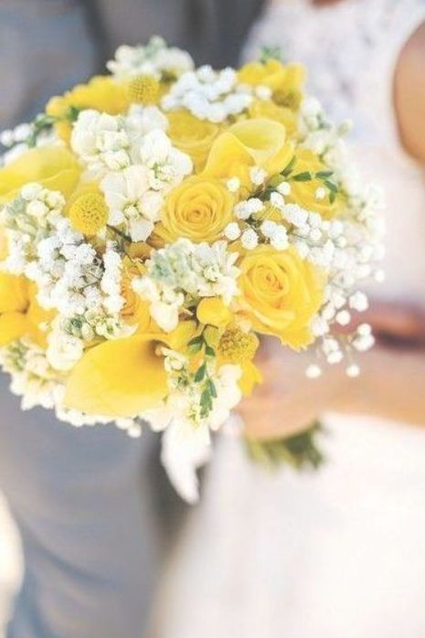 Yellow and white wedding bouquet – yellow roses, craspedia, calla lilies, stock, and baby's breath {Lena Mirisola Photography}