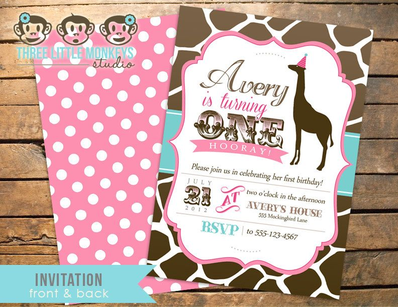 Vintage Giraffe Birthday Invitation PLUS Matching Thank You Note ...
