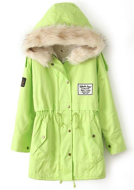 5d3ee513b2 Green Fur Hooded Zipper Embellished Fleece Inside Military Coat US$55.50