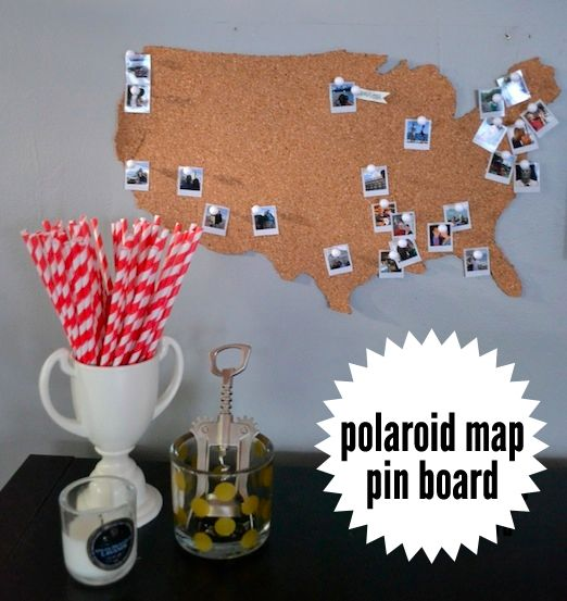The polaroid map pin board an easy diy for the modern hipster to map cork board mini polaroids my lonely bar daci jaye gumiabroncs Choice Image