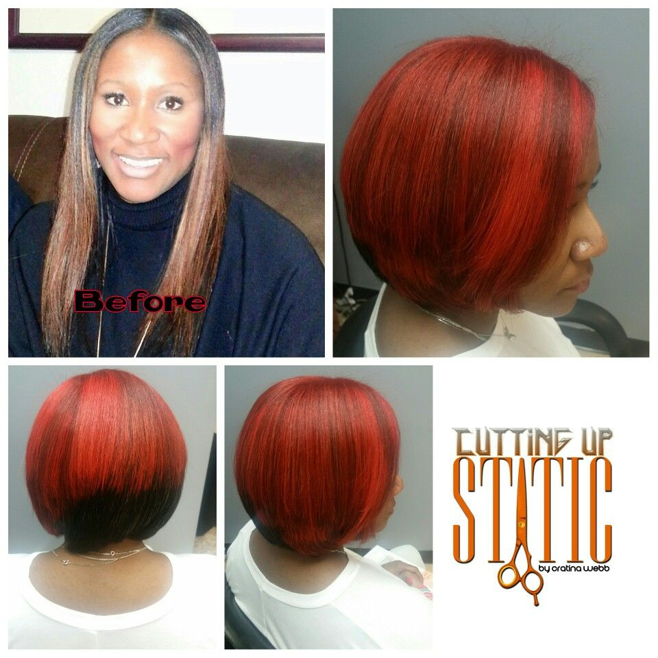 Change Is Good Sleek Bob With Some Fiyah Influance Hair Color