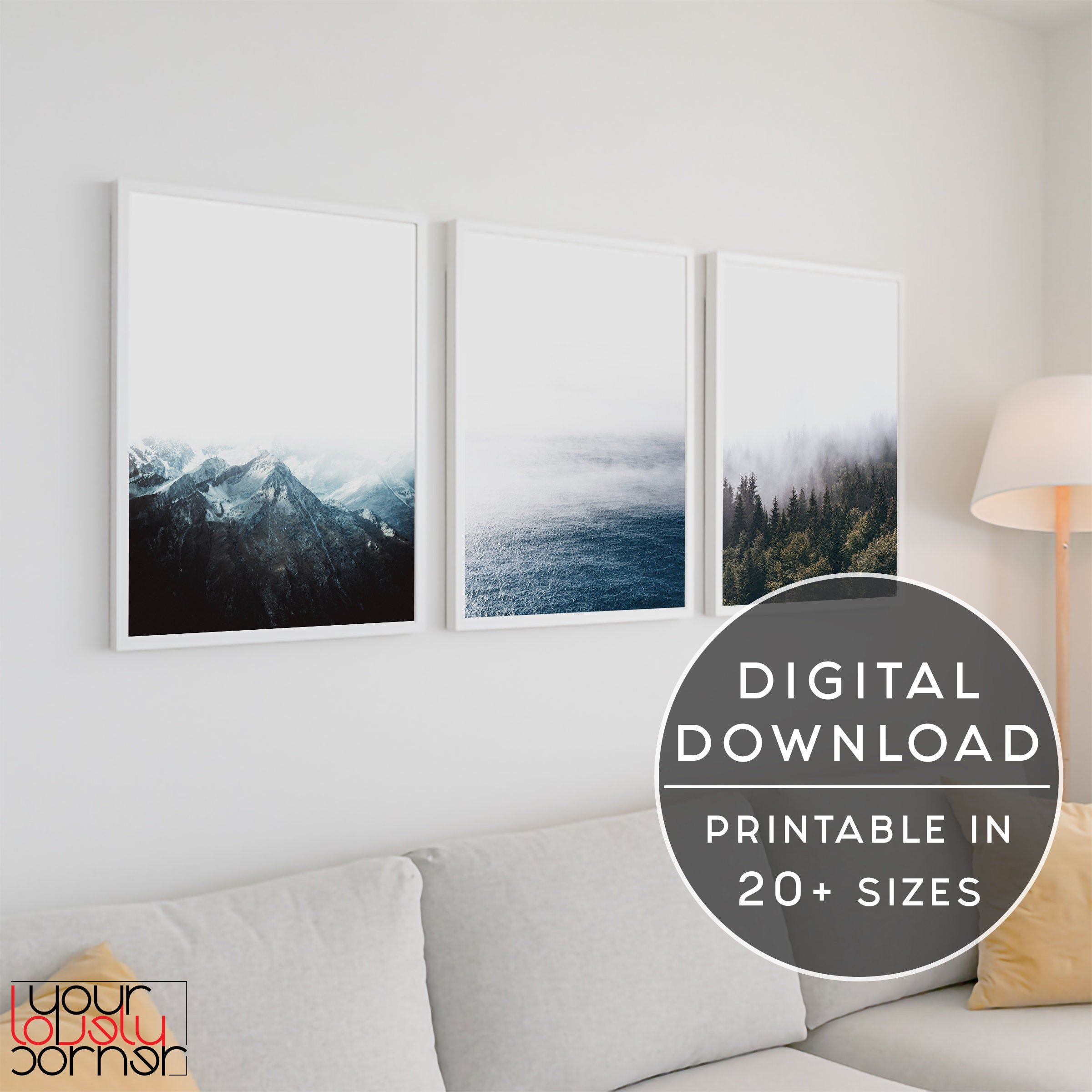 Nature 3 Piece Wall Art Minimalist Wall Art Set Of 3 Prints Etsy Landscape Wall Art Nature Wall Art Mountain