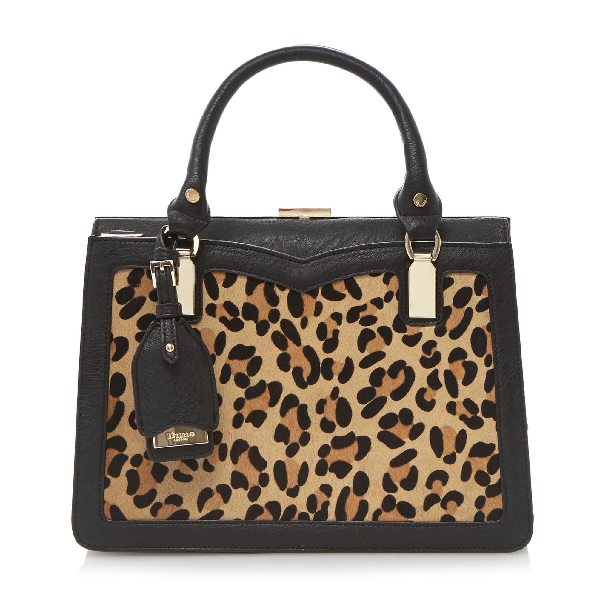 DUNE ACCESSORIES DAPHNE - Pony Leopard Print Structured Bag - leopard | Dune Shoes Online