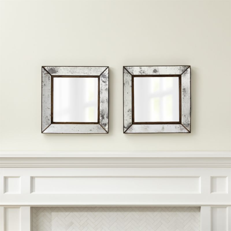 Crate & Barrel Dubois Small Square Wall Mirrors, Set of 2 | Vintage ...