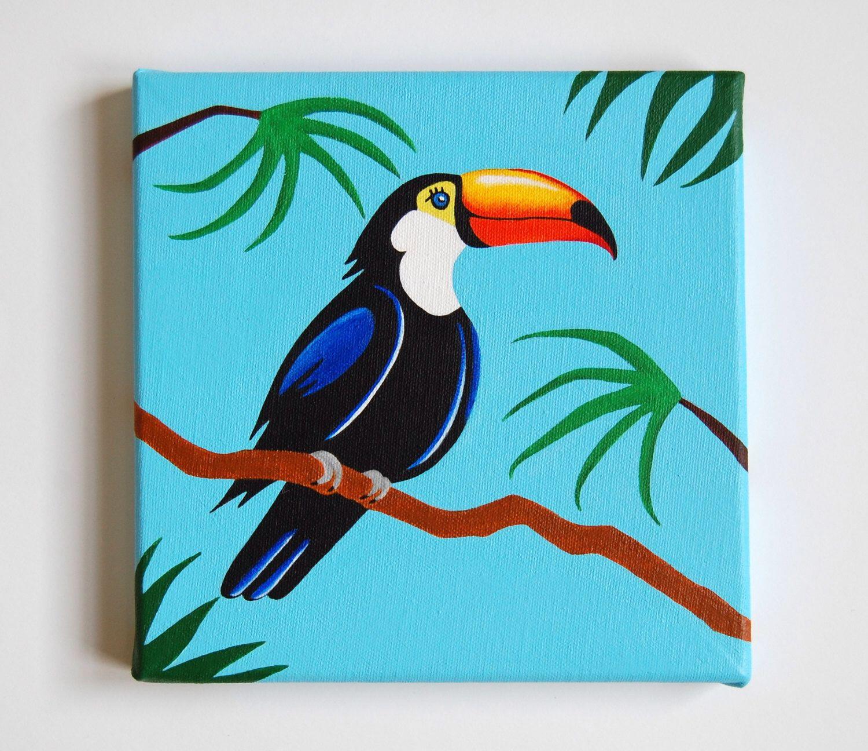 Original Toucan Painting Tropical Bird Art Nursery Decor Rainforest Colourful Wall Kids Room 8 X Canvas By