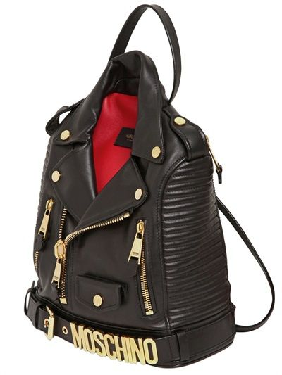 76d2e574f4 MOSCHINO BIKER JACKET FORM NAPPA LEATHER BACKPACK