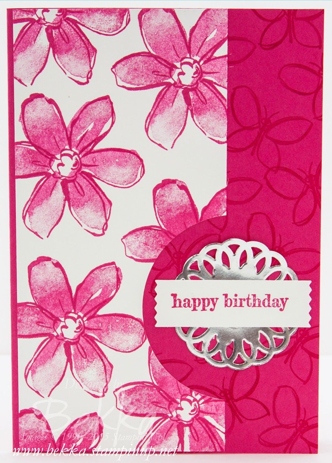 Bright summer birthday card featuring the garden in bloom stamp set