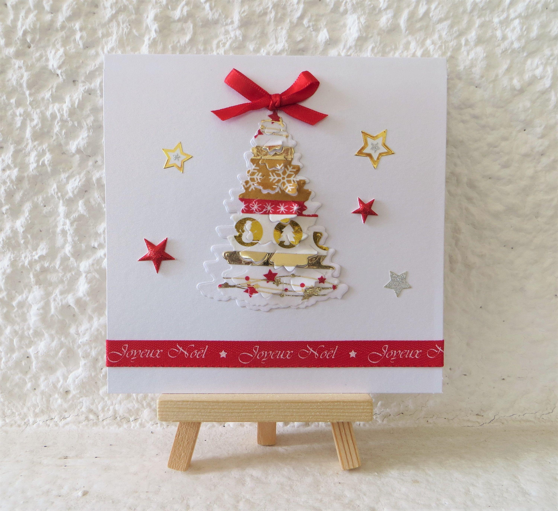 Carte de noël 3D : Sapin de Noël rouge et or   Noël   Voeux