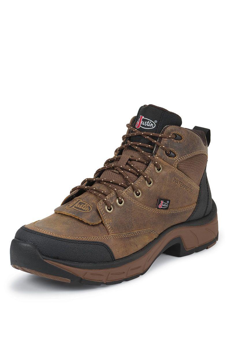 9886a256c98 Justin Boots Men's Distressed Tan Jaguar Waterproof Work Boots ...