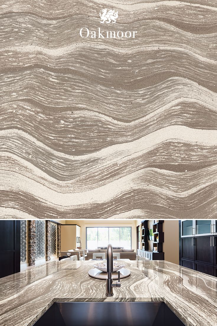 Serpentine and stately, our Oakmoor™ design brings a muted beauty to any kitchen countertop.
