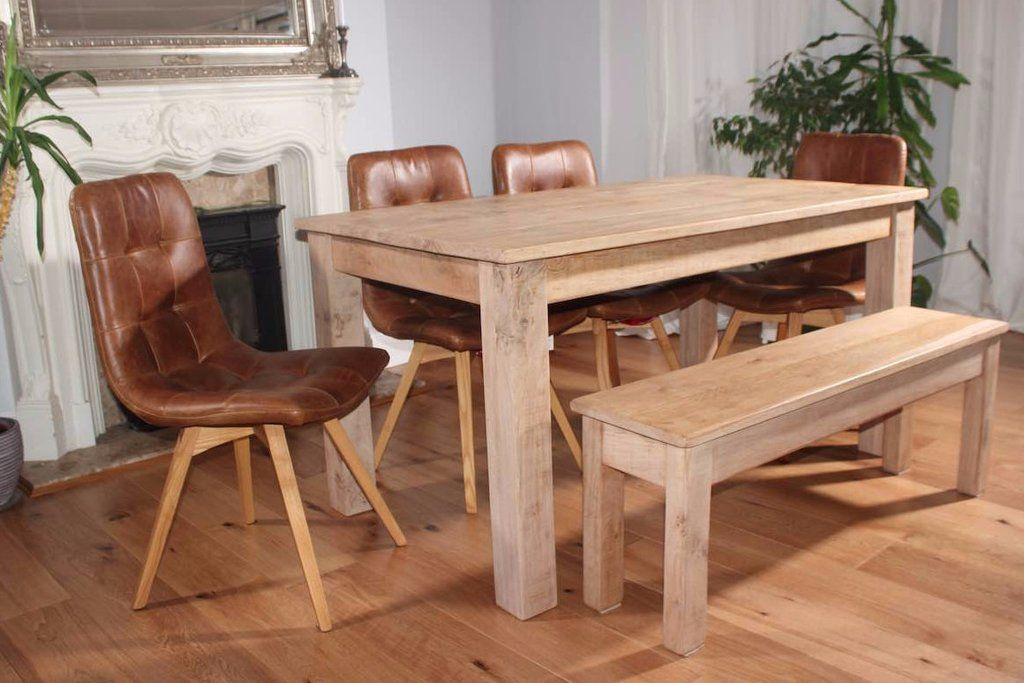 Kensington Reclaimed Wood Dining Table With Glass Top In 2019