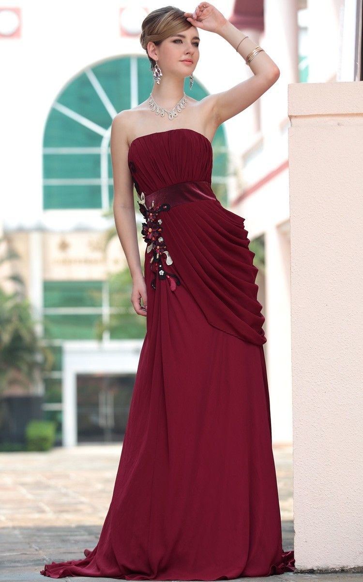 Burgundy off shoulder pleated floor length wholesale gowns evening