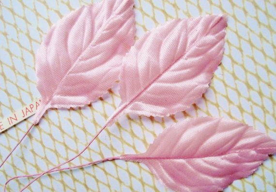 Vintage Pink Millinery Silk Leaves  24 Valentine by BigCityButtons