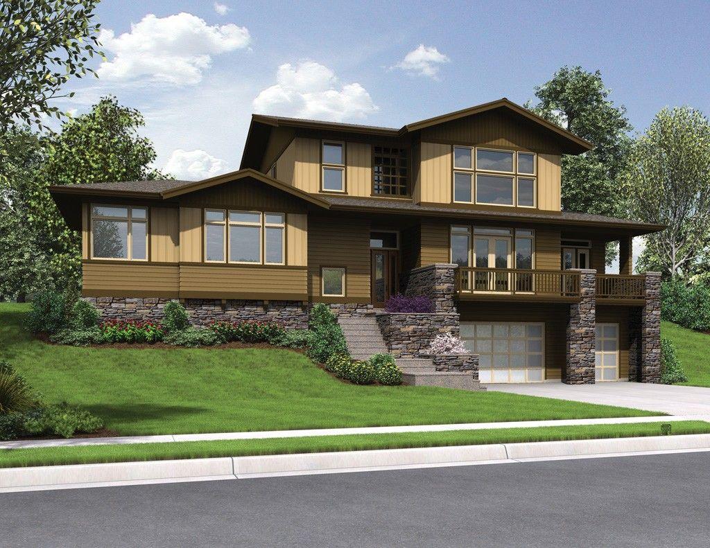 Craftsman Styled Sloped Lot House Plan The Renicker Desain Rumah Rumah Desain
