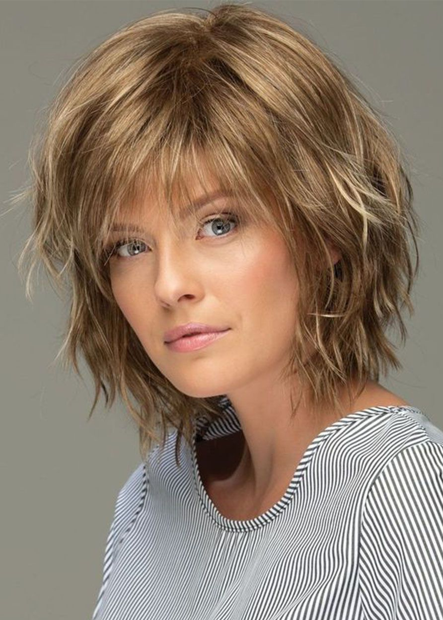 Messy Look Women's Shoulder Length Style Features Choppy Layers Wavy Human Hair Wigs Lace Front Wigs 10Inch #shortlayeredhairstyles