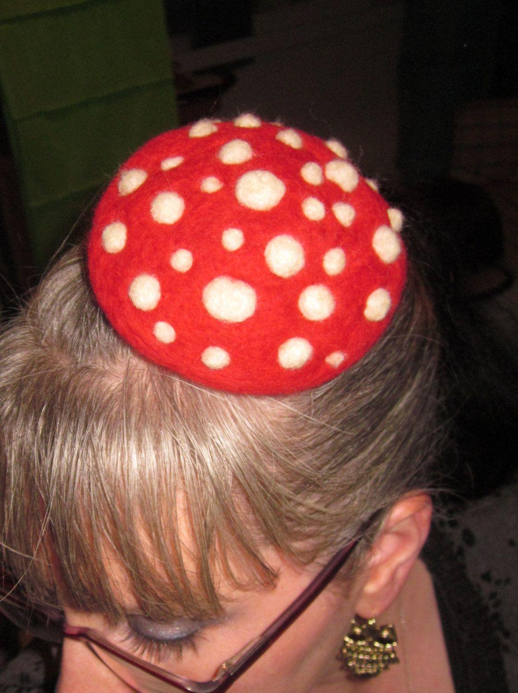Needle Felted Amanita Mushroom Hair Clip Facinator Feather Hair