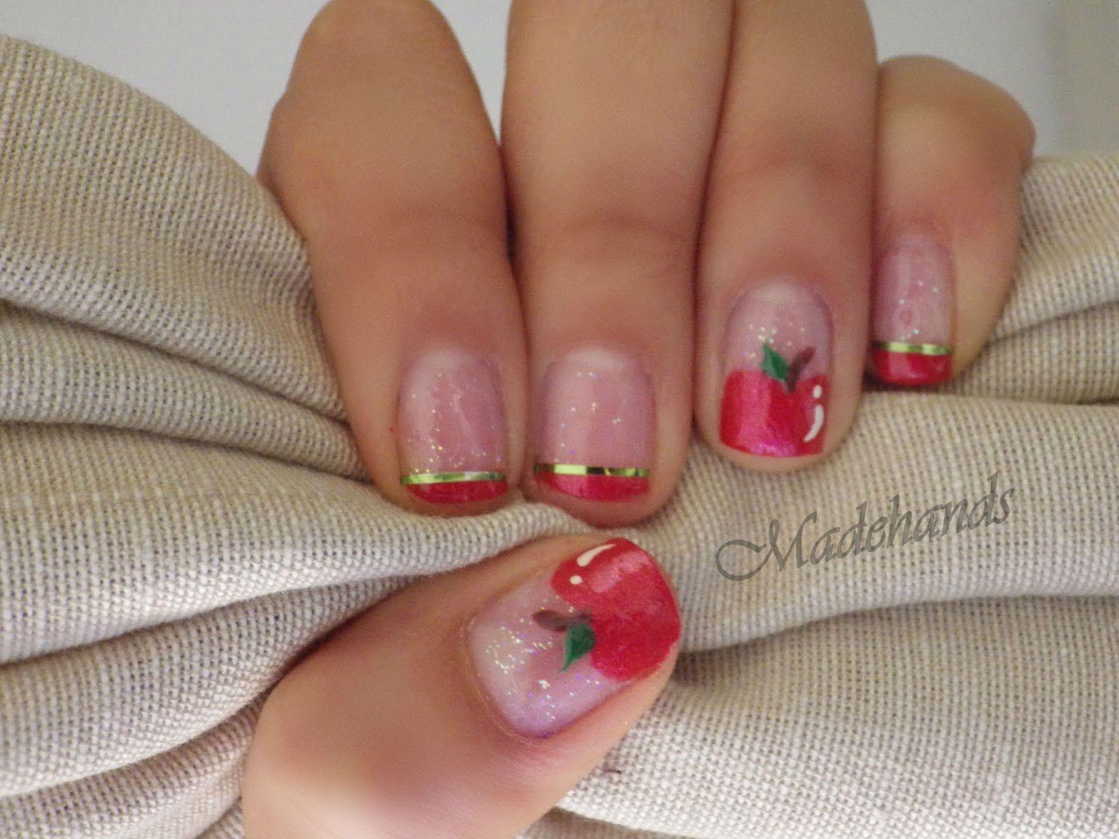 diseño de uñas manzana!! back to school nails | nails designs ...