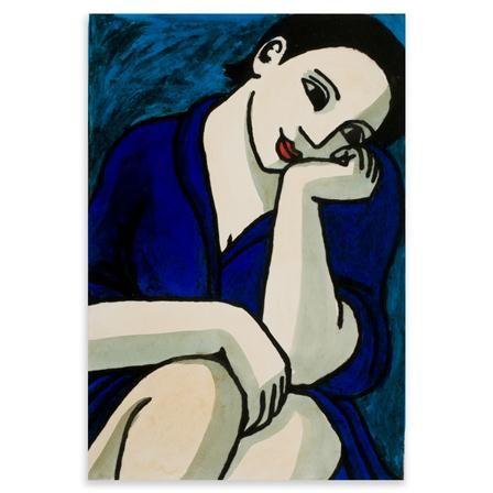 Anita Klein-Lady in blue robe