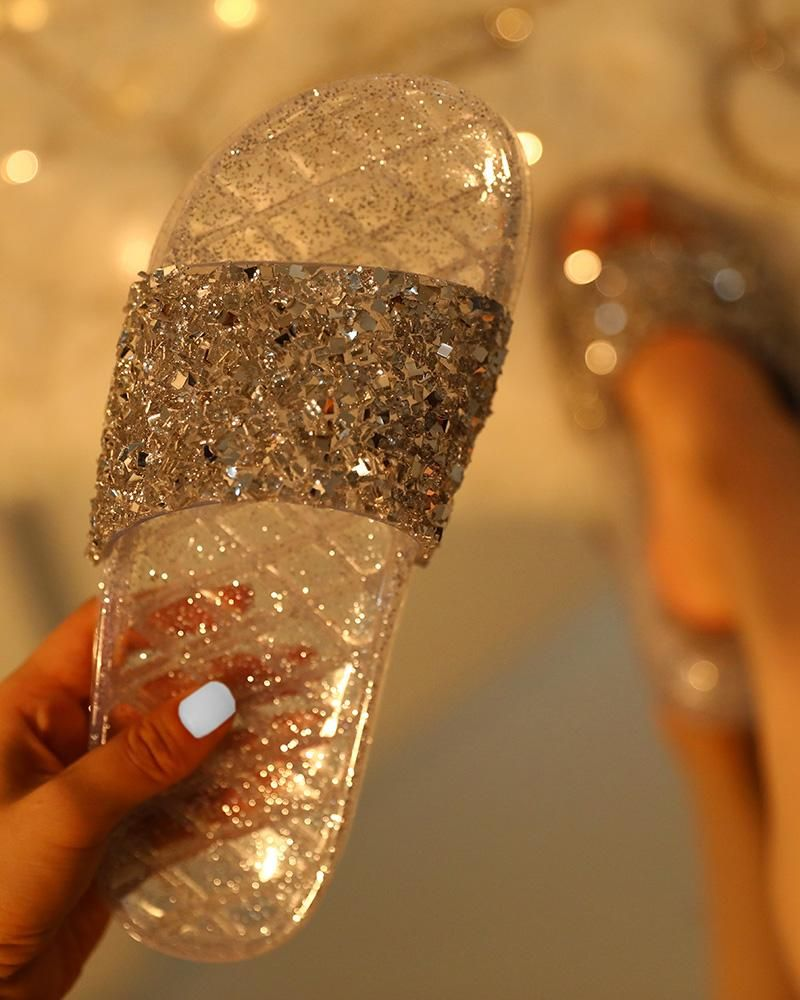 Open Toe Glitter Studded Flat Sandals Open Toe Glitter Studded Flat Sandals