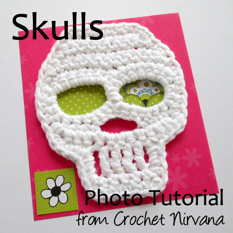 Tough but sweet crochet skull. Will be appliqueing this on...well ...