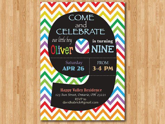 Rainbow 9th Birthday Invitation Colorful Chevron Party Invite Chalkboard Ninth B