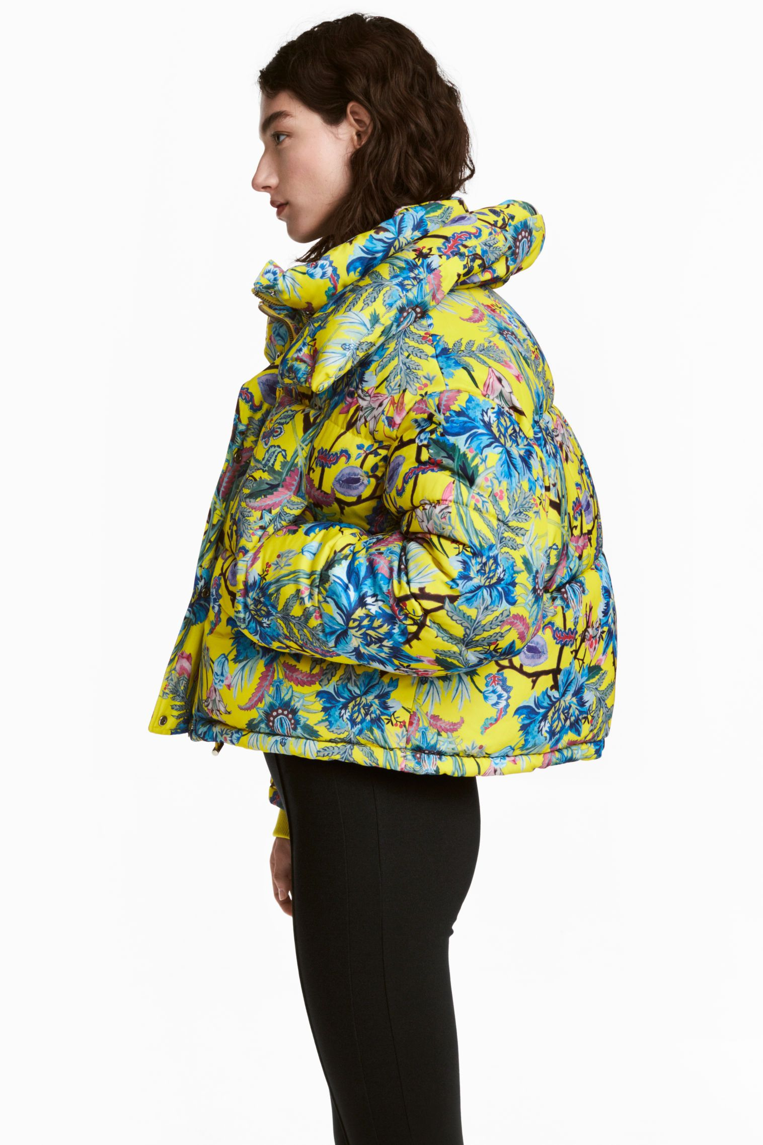Short, padded, patterned jacket with a large, detachable extra collar, stand-up collar and zip and wind flap with press-studs down the front. Side pockets,