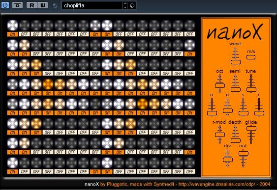 NanoX, a vsti polyphonic step-sequenced synth. http://www.vstplanet.com/Instruments/VST_Synthesizers26.htm#NanoX