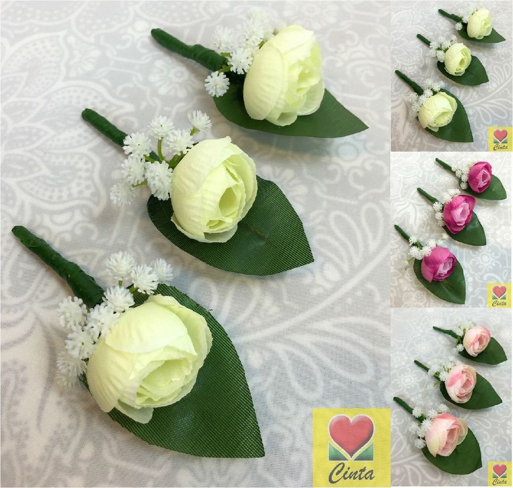 3 X Artificial Silk Small Peony Flower Onholes Wedding Flowers