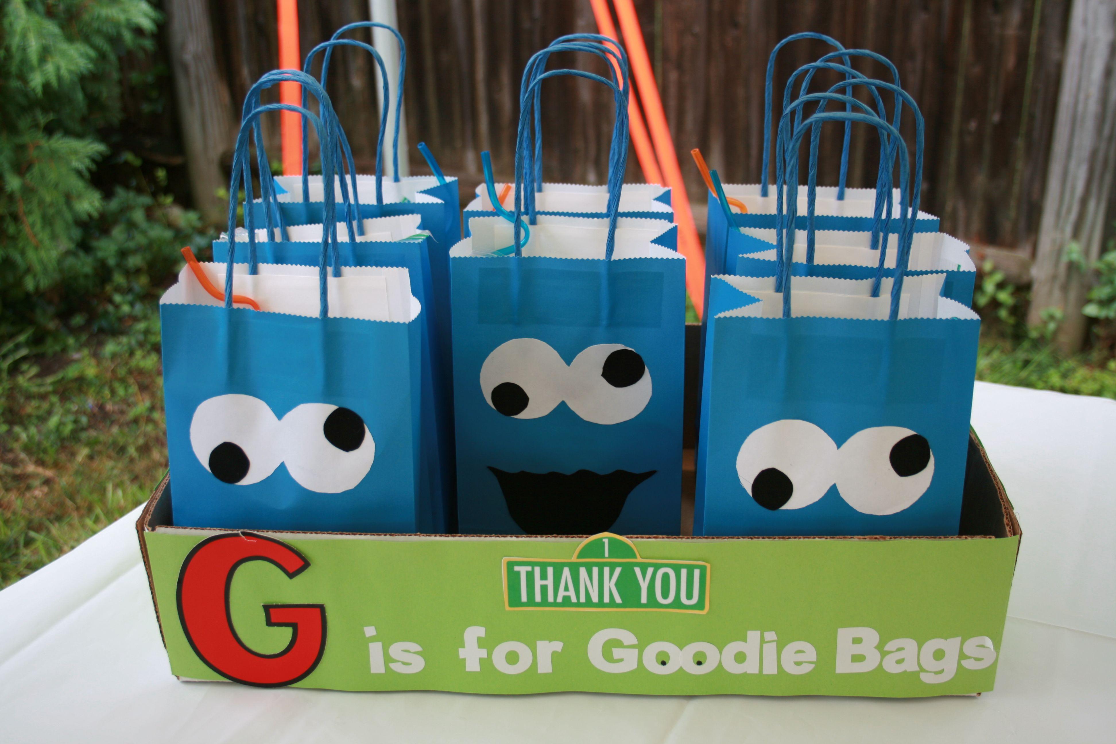 cookie monster goodie bags charlie s sesame street 1st birthday