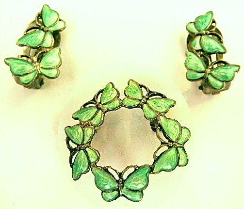 Volmer Bahner Sterling Enamel Butterfly Pin Earrings Denmark Vtg VB Brooch Set | eBay
