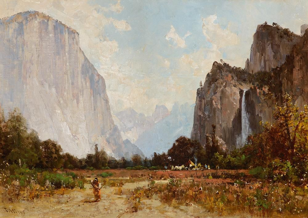 """Indian Camp in Yosemite Valley,"" Thomas Hill, oil on"