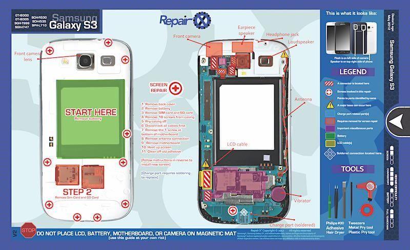 Repair X Samsung Galaxy S3 Repair Guide Magnetic Screwmat Samsung Galaxy S3 Galaxy S3 Samsung Galaxy