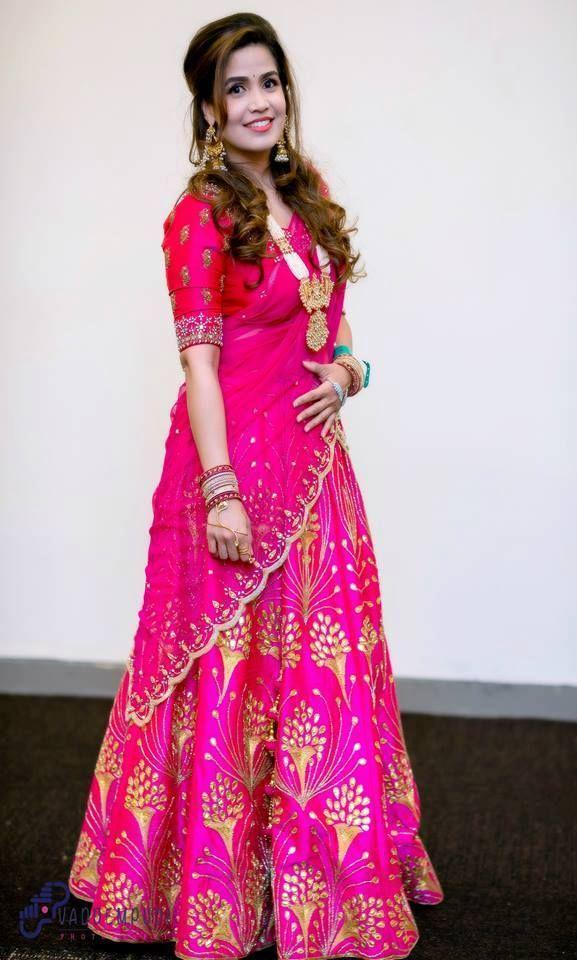 d363eec9ab Sirisha Tatakula Pink Half Saree | Celebrities Sarees | Saree, Half ...