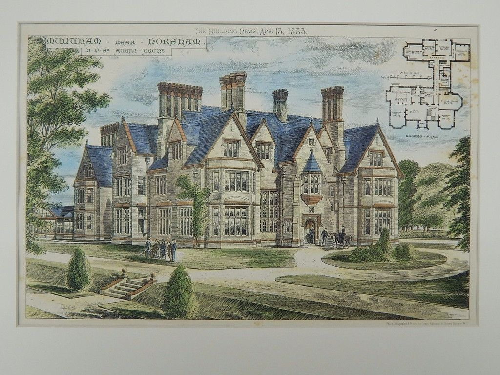 Muntham House near Horsham, West Sussex, England, 1883, Original Plan.  J. P. St. Aubyn.