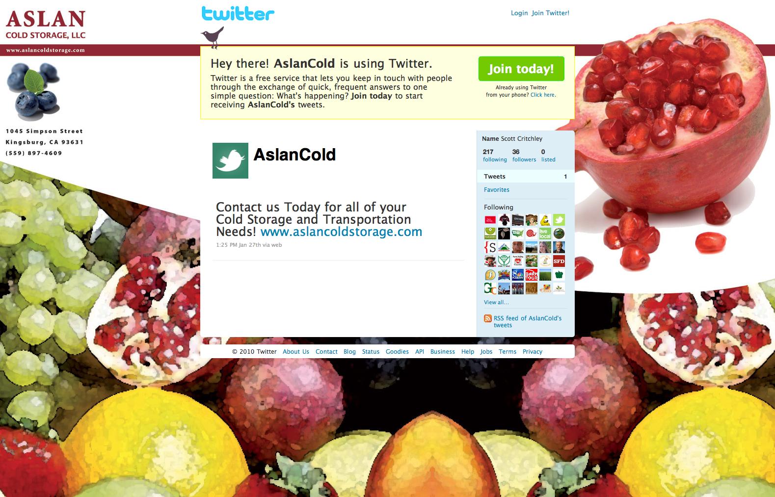 Aslan Cold Storage Custom Twitter Background Design by MC Solutions  sc 1 st  Pinterest & Aslan Cold Storage Custom Twitter Background Design by MC Solutions ...