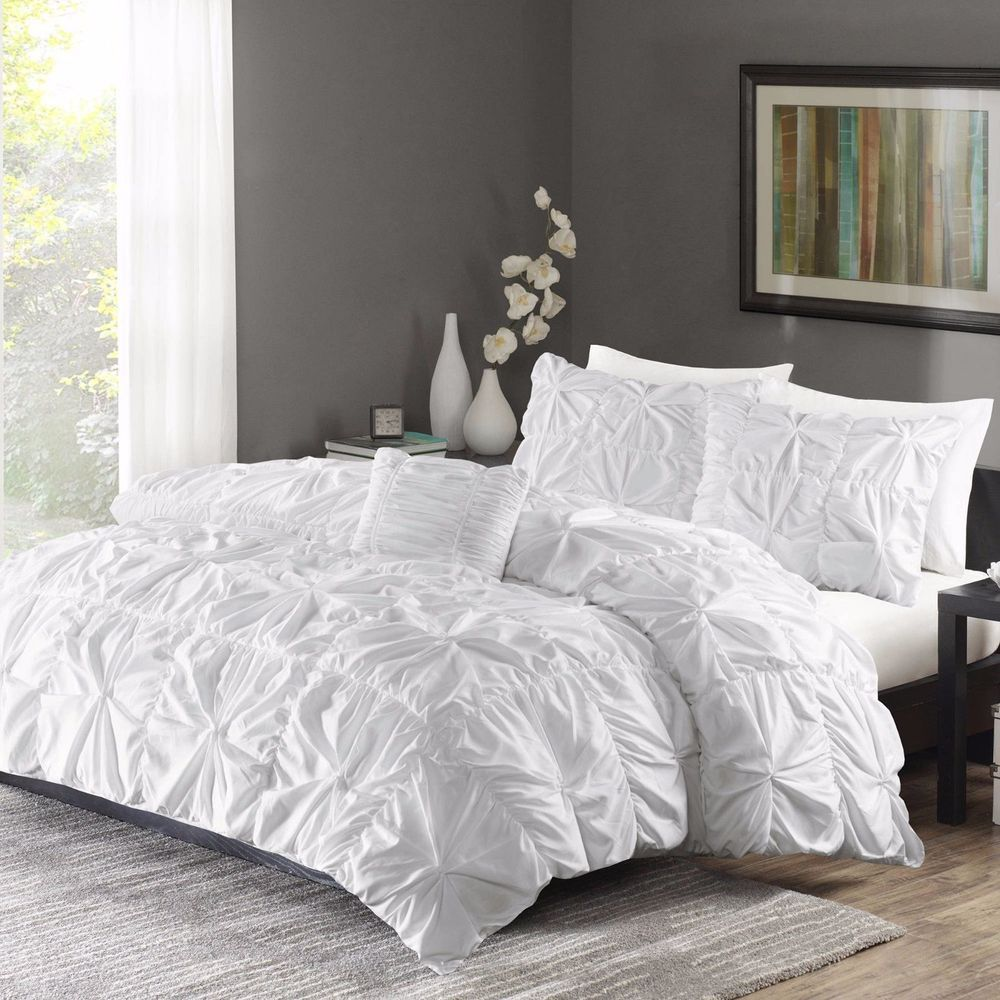 Ruched Bedding Set King Size Bed White Duvet Cover Shams 4 Piece