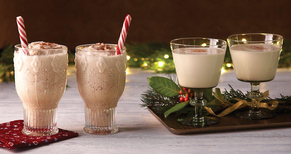 An eggnog milkshake deserves a sweet peppermint stick garnish. The adult version of the holiday classic merits stemware.