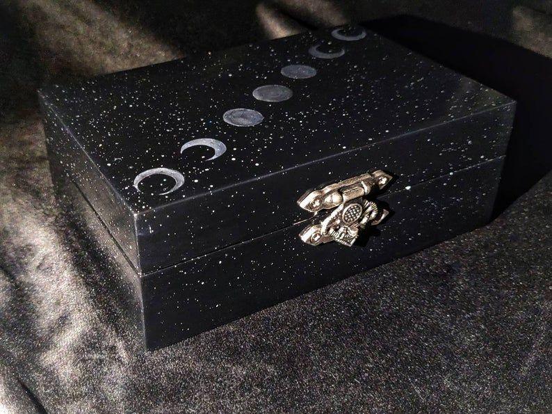 THE MOON TAROT card woodburned witch boho jewelry box