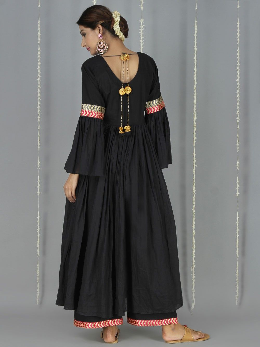 8282b8c30c Black Cotton Mulmul Bell Sleeve Kurta | New suits in 2019 | Indian ...
