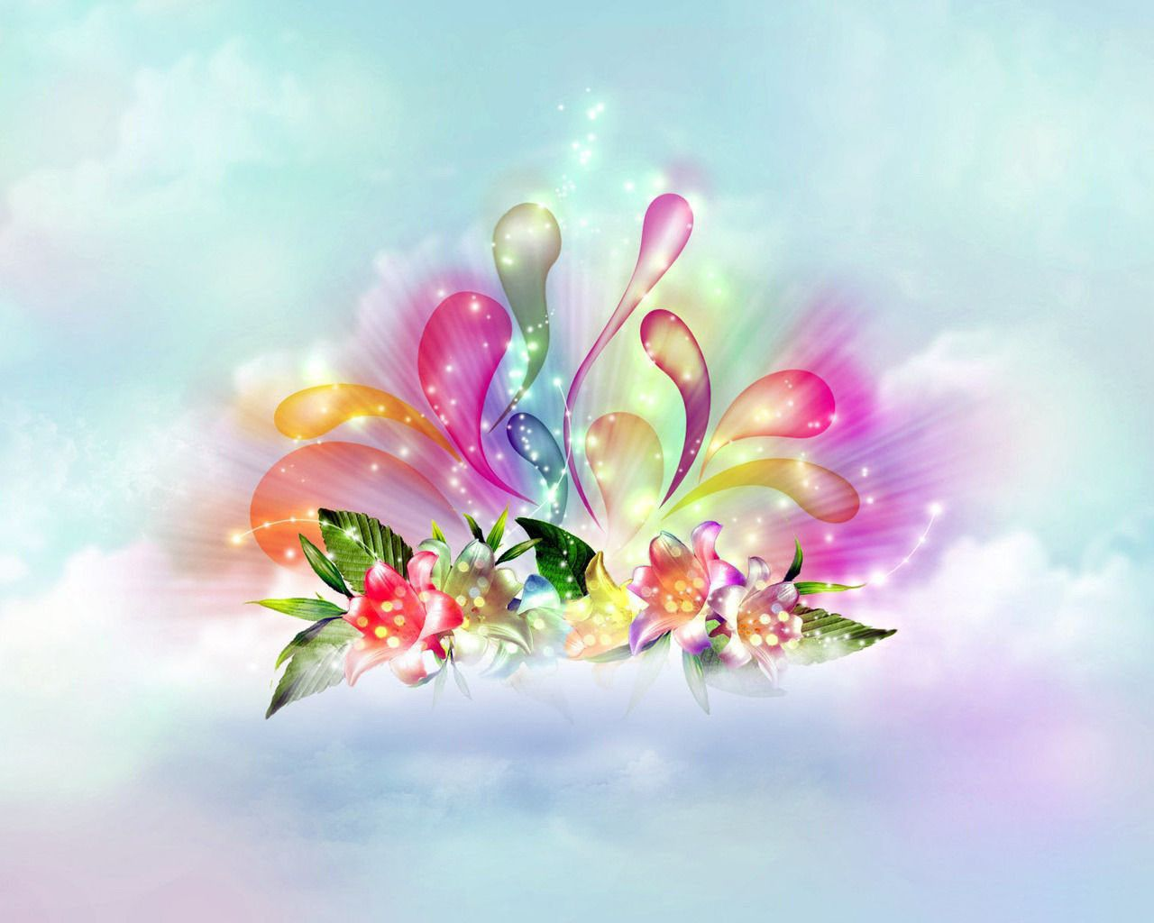 Graphic Light Color Wallpapers For Desktop 3d Beautiful Flowers