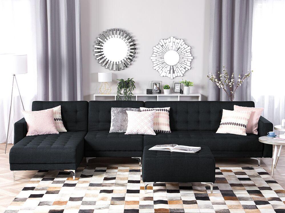 Canape Angle Convertible A Droit En Tissu Gris Graphite Aberdeen In 2020 Modular Sofa Uk Corner Sofa With Ottoman Sofa Uk