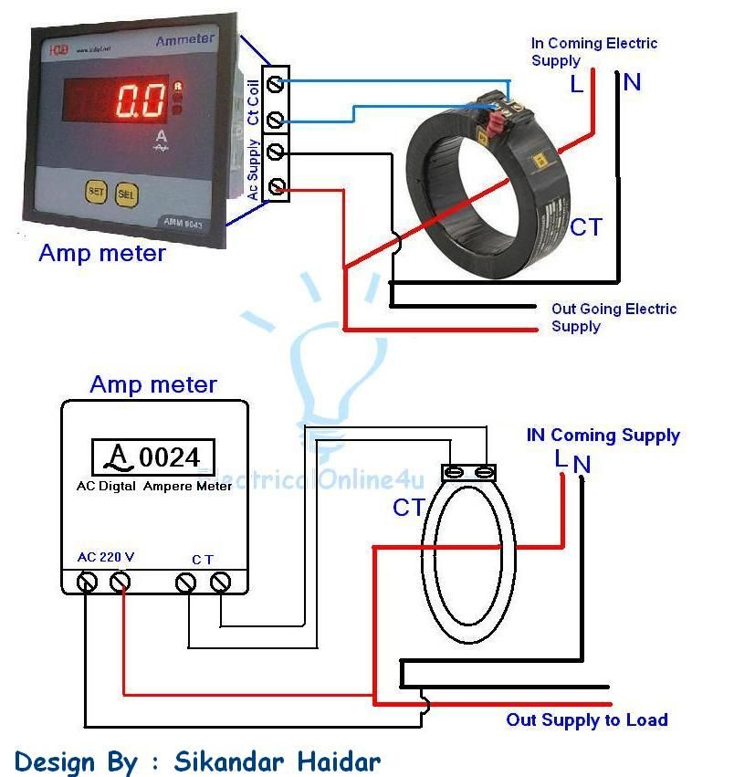 Digital Ammeter Wiring With Current Transformer Ct Coil Current Transformer Digital Ammeter Electrical Circuit Diagram