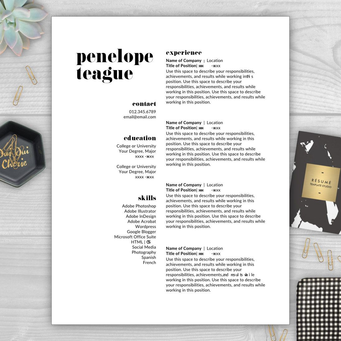 Creative Resume Template Resume for Word & Pages