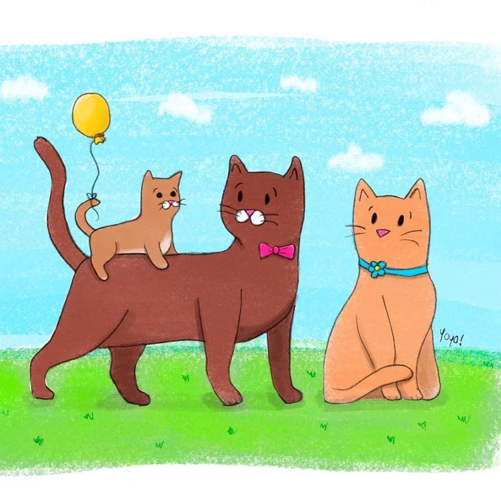 Mes #de #los #gatos! #Linda #familia #gatuna #. #. #. #. #. #. #. #. #cats #cute #love #family #gatos #illustration #art #artist #instaart #draws #dibujos #chile #digital #animals #drawing #familia #amor #cartoons #ilustradoreschilenos #car